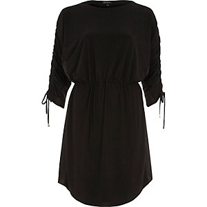 Black drawstring detail mini dress