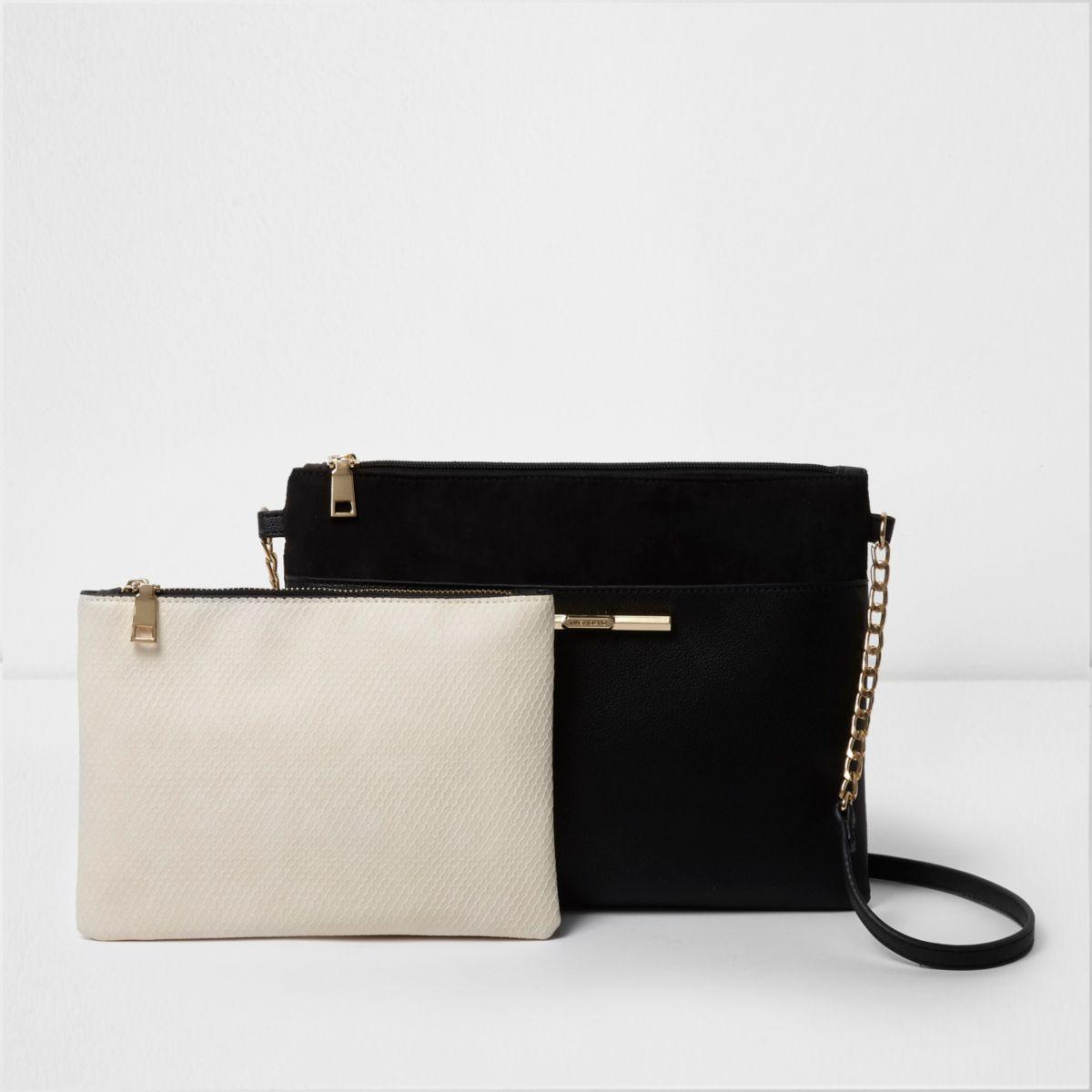 Black cross body bag and cream pouchette