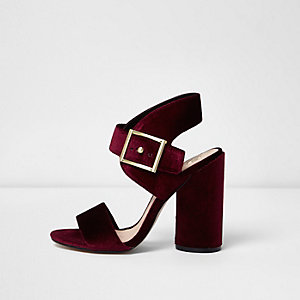 Red velvet buckle block heel sandals