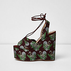 Dark red flamingo tie up platform wedges