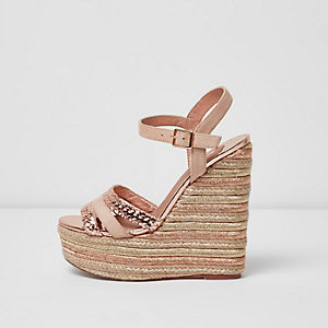 Gold metallic espadrille platform wedges