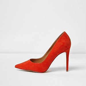 Red suede wide fit court shoes