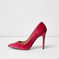 Pink velvet court shoes