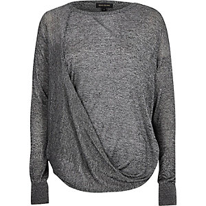 Grey drape front knit sweater