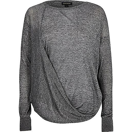 Grey drape front knit jumper