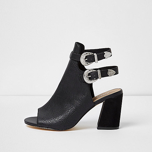 Black western style wide fit shoe boots