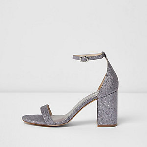 Purple glitter block heel sandals