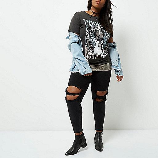 Plus dark grey voodoo print sequin T-Shirt