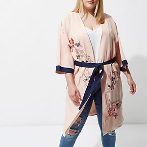 Plus light pink embellished belted kimono