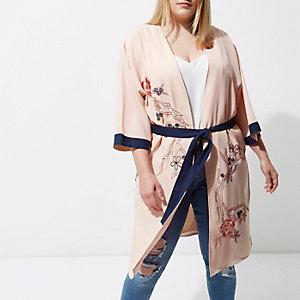 Plus – Kimono rose clair orné à ceinture