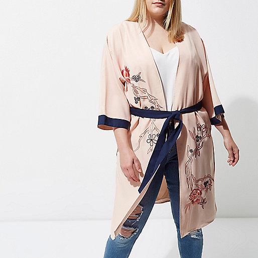 Plus light pink embellished belted kimono