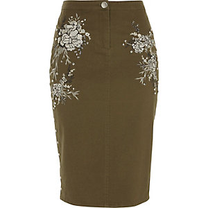 Khaki green embroidered pencil skirt