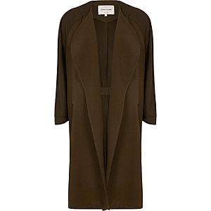 Khaki green crepe panel long duster coat