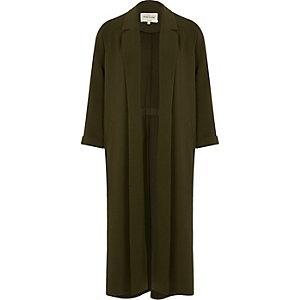 Khaki green long duster coat
