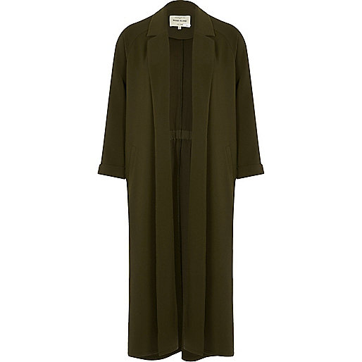 Manteau coupe longue vert kaki
