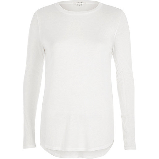 White soft long sleeve T-shirt