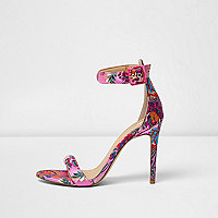 Pink floral print barely there sandals