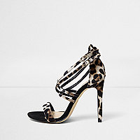 Leopard print caged strappy wide fit sandals