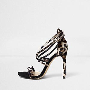 Sandales coupe large imprimé léopard à lanières effet cage
