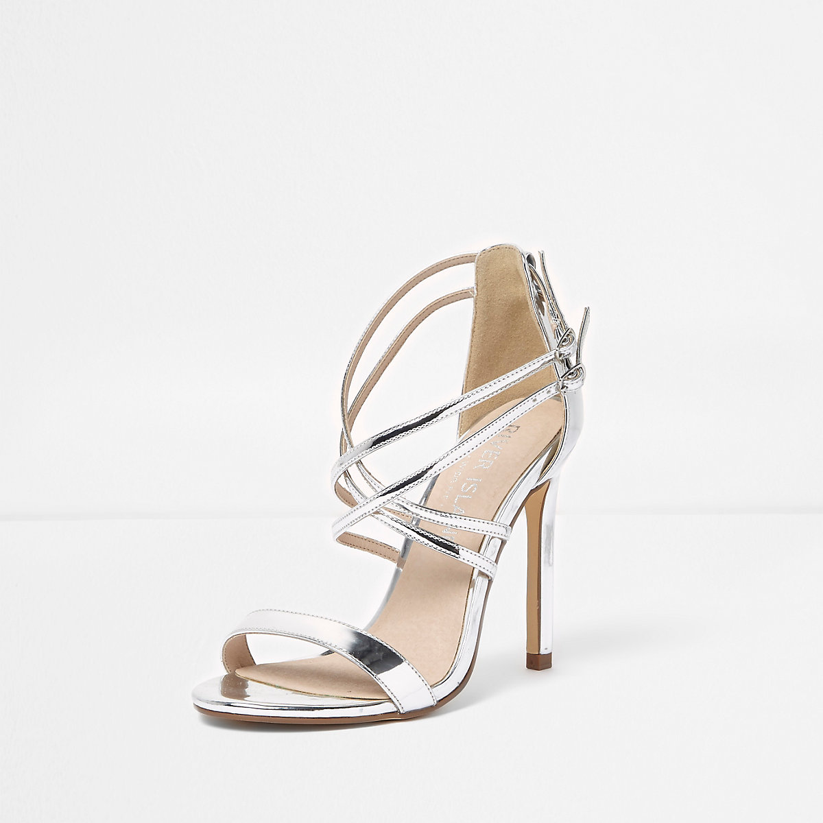 6d60b77660f5 Silver caged strappy wide fit sandals - Sandals - Shoes   Boots - women