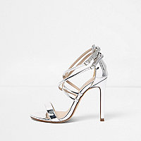 Silver caged strappy wide fit sandals