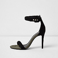 Black barely there wide fit sandals