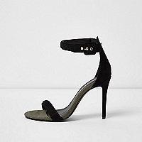 Zwarte minimalistische sandalen met brede pasvorm