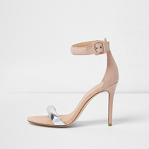 Nude barely there metallic wide fit sandals