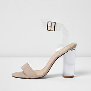 Blush pink heel barely there sandals