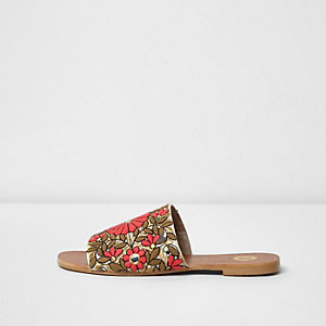 Pink floral embroidered mules