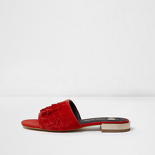 Red suede frill mules