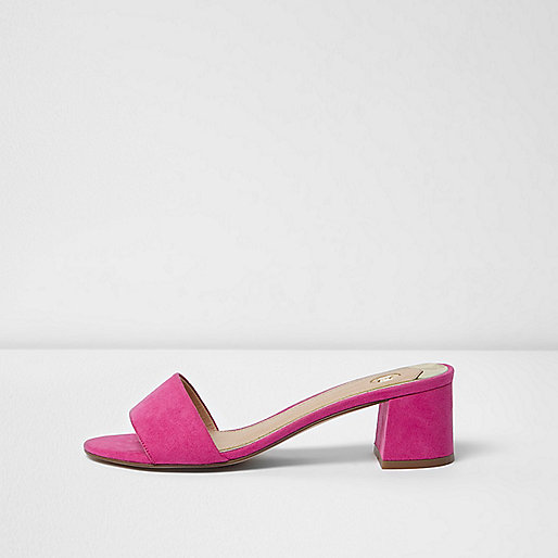 Pink faux suede mules