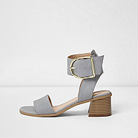 Light grey oversized buckle sandals