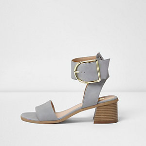Light grey oversized buckle sandals
