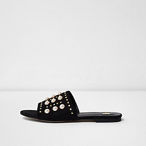 Black pearl and stud embellished sliders