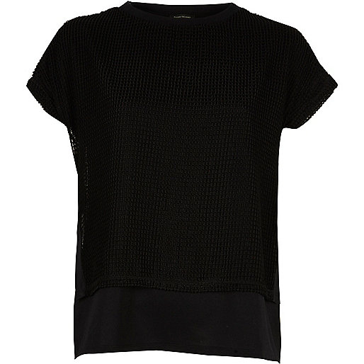 Black mesh layered T-shirt