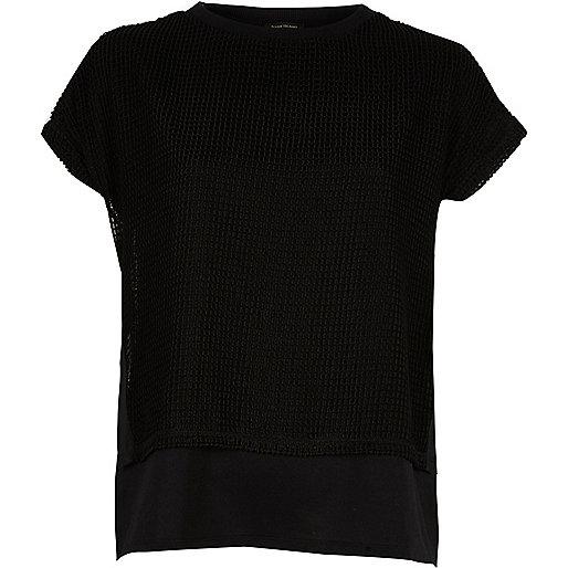 Black mesh layered T-shirt