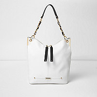 White and gold tone chain slouch tote bag
