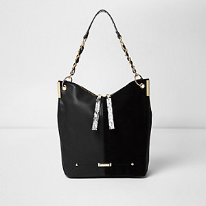Black chain strap slouch bag