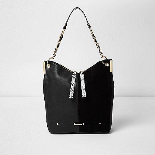 Black chain strap slouch bag