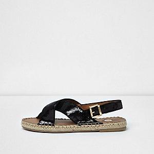 Black sequin cross strap espadrille sandals