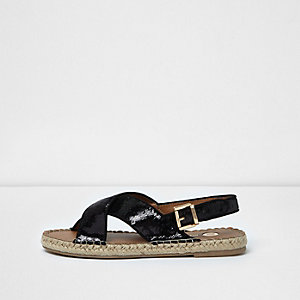 Black sequin cross strap espadrille sandals