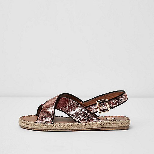Pink sequin cross strap espadrille sandals