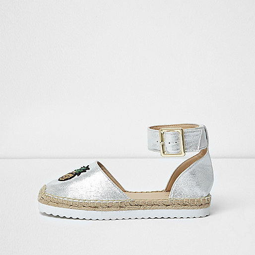 Silver sequin pineapple espadrilles