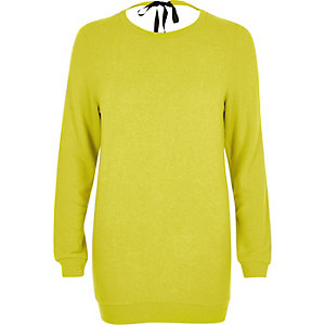 Bright yellow tie back knit jumper