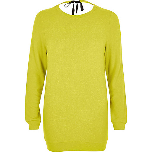 Bright yellow tie back knit sweater