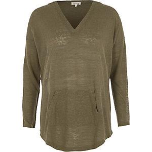 Kakigroene lichtgewicht hoodie