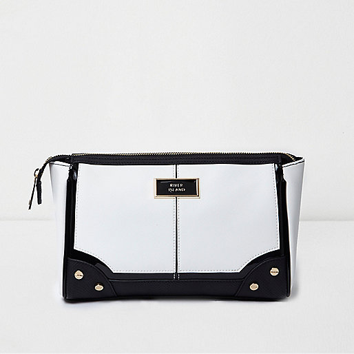 White and black make-up wash bag