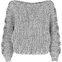 Grey batwing knit sweater