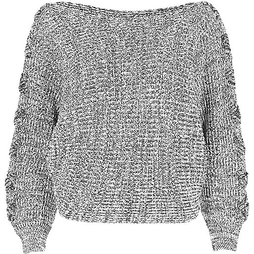 Grey batwing knit jumper